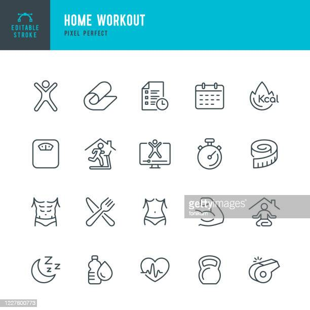 home workout - thin line vector icon set. pixel perfect. the set contains icons: running, weight training, yoga, treadmill, exercising. - healthy lifestyle stock illustrations