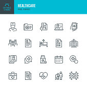 HEALTHCARE - thin line vector icon set. Pixel perfect. The set contains icons: Telemedicine, Doctor, Senior Adult Assistance, Pill Bottle, First Aid, Medical Exam, Medical Insurance.