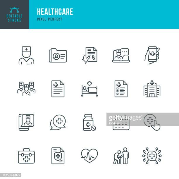 healthcare - thin line vector icon set. pixel perfect. the set contains icons: telemedicine, doctor, senior adult assistance, pill bottle, first aid, medical exam, medical insurance. - hospital stock illustrations