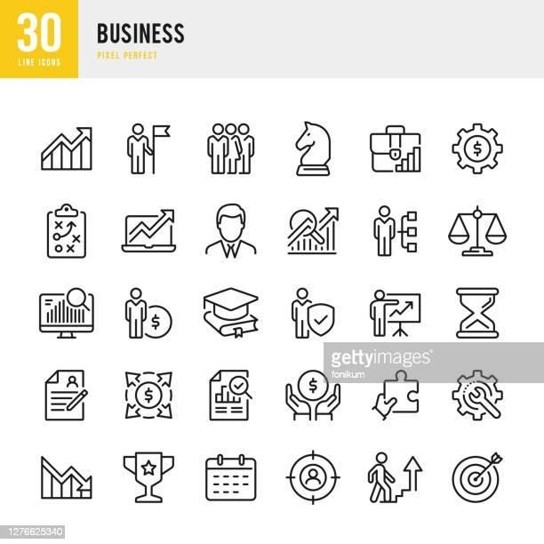business - dünnlinien-vektor-symbol-set. pixel perfekt. das set enthält symbole: business strategy, teamwork, leadership, group of people, karriere, finanzbericht. - umschulung stock-grafiken, -clipart, -cartoons und -symbole