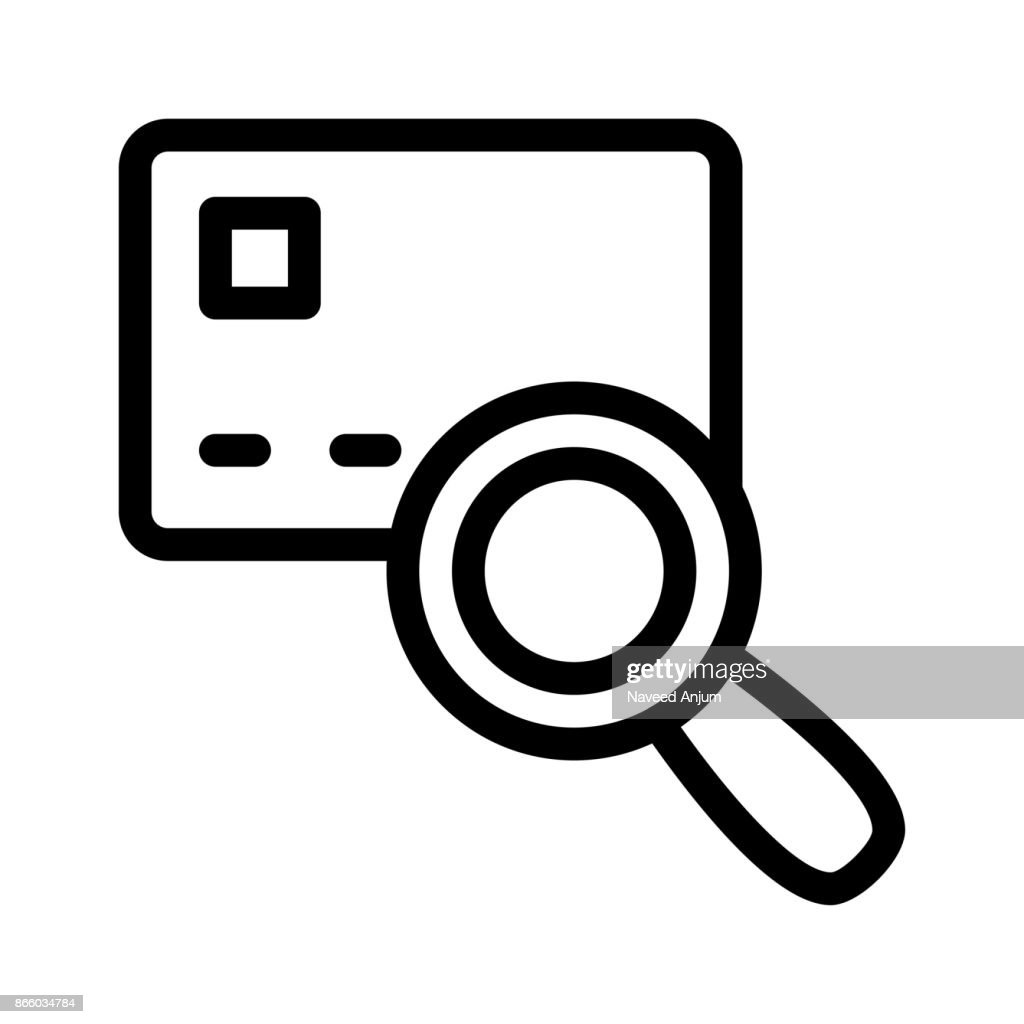 CARD SEARCH Thin Line Vector Icon