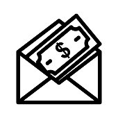 MAIL PAYMENT Thin Line Vector Icon