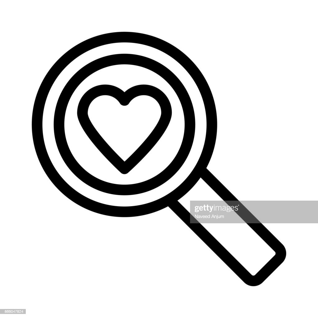 HEART SEARCH Thin Line Vector Icon