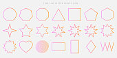 Thin line vector shapes icon set. circle, square, triangle, polygon, star, heart, spiral, rhombus, zigzag outline figures in the popular pink color gradient.
