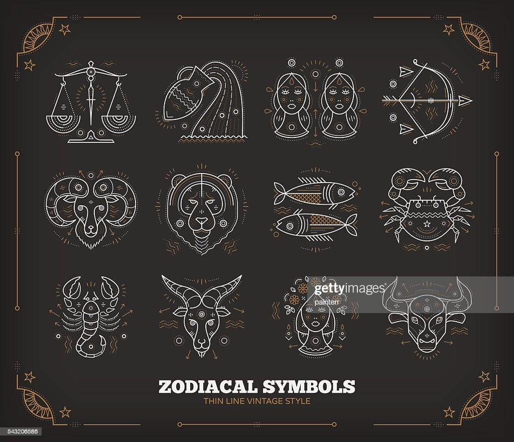 Thin line vector zodiacal symbols. Isolated on dark.
