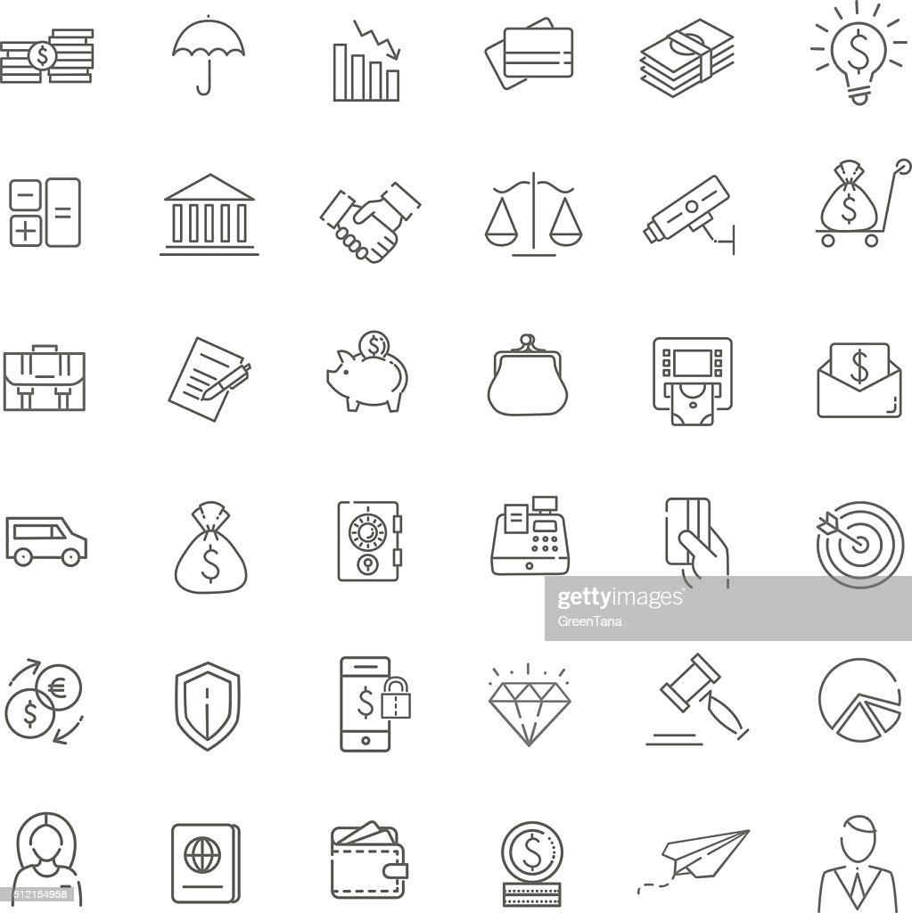 Thin line web icon set - money, finance, payments