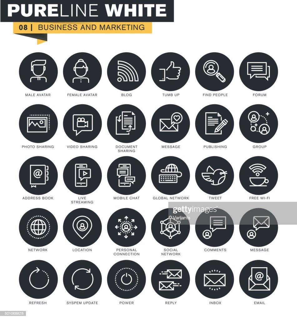 Thin line web icons collection for business and marketing