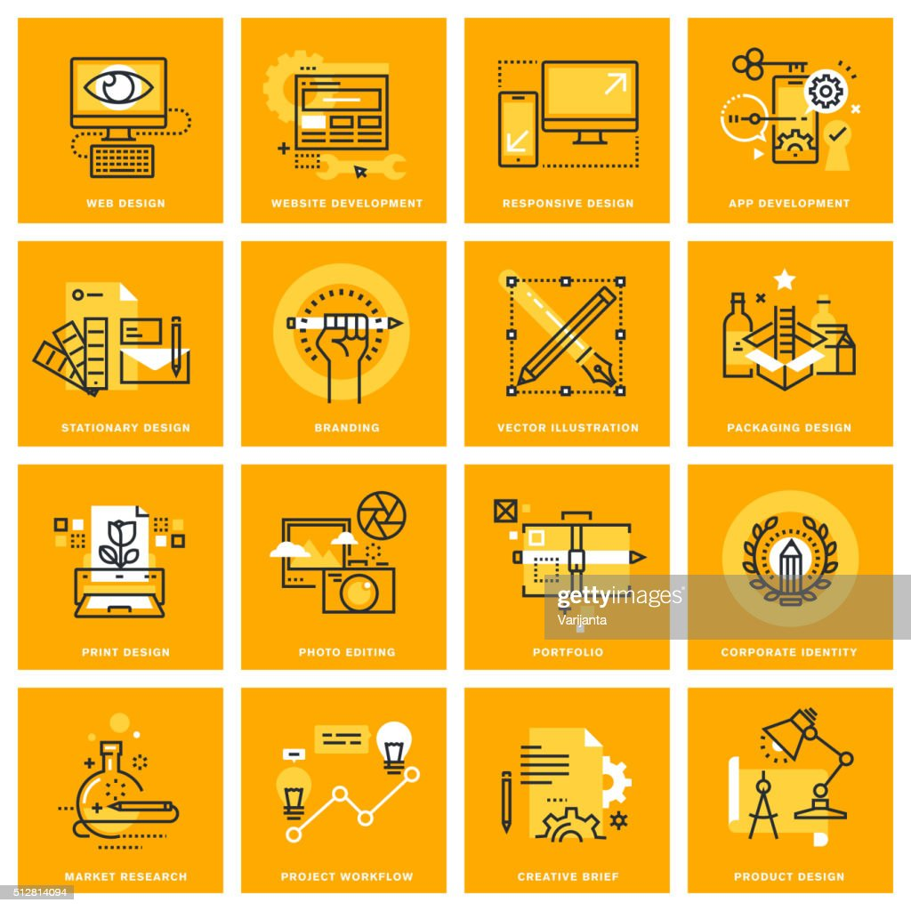 Thin line web icons of graphic and web design