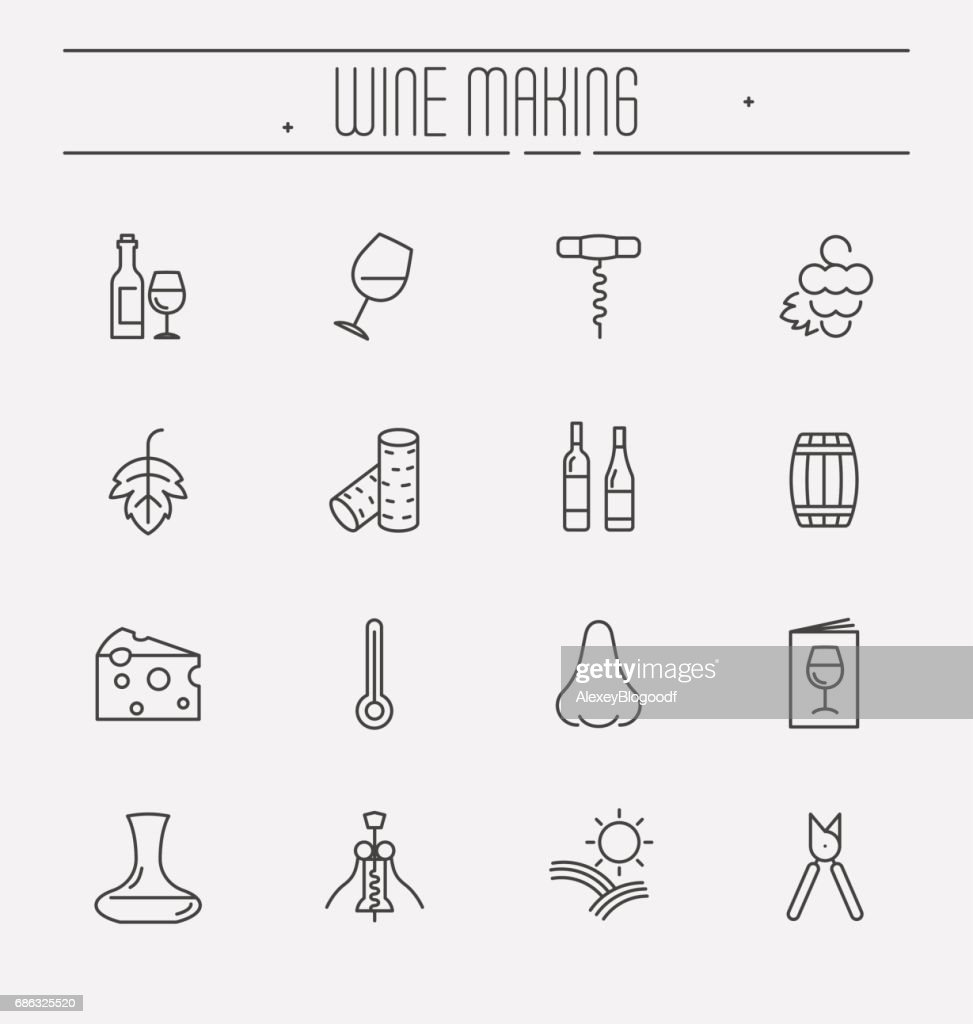 Thin line wine and wine making icons set isolated on white background. Vector illustration.