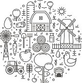 Thin Lines Farming Icons And Elements
