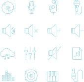 Thin lines icon set - audio