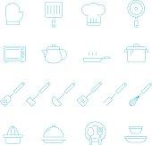 Thin lines icon set - kitchenware