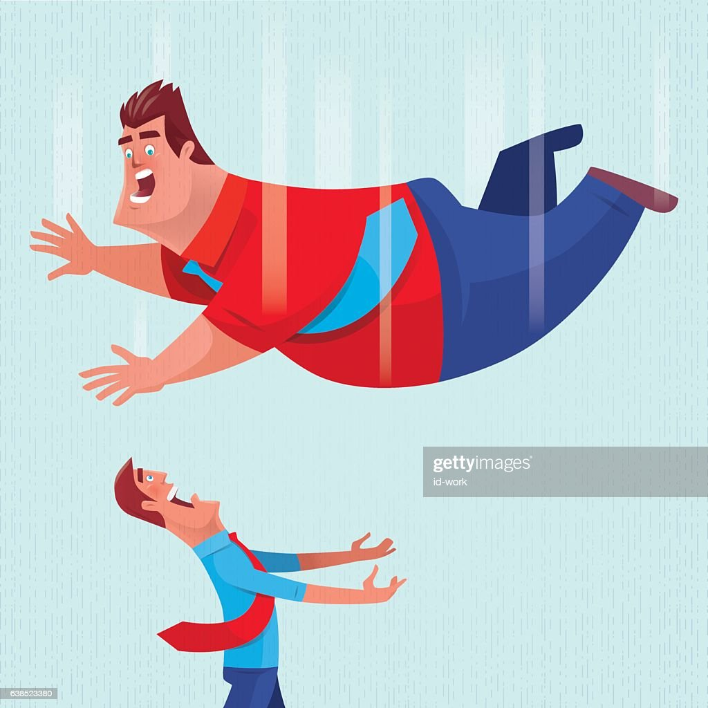 thin man going to hold falling fat man : stock illustration