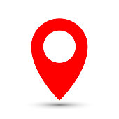 Thin out line red pin location gps icon. Geometric marker flat shape element. Abstract EPS 10 point illustration. Concept vector sign.