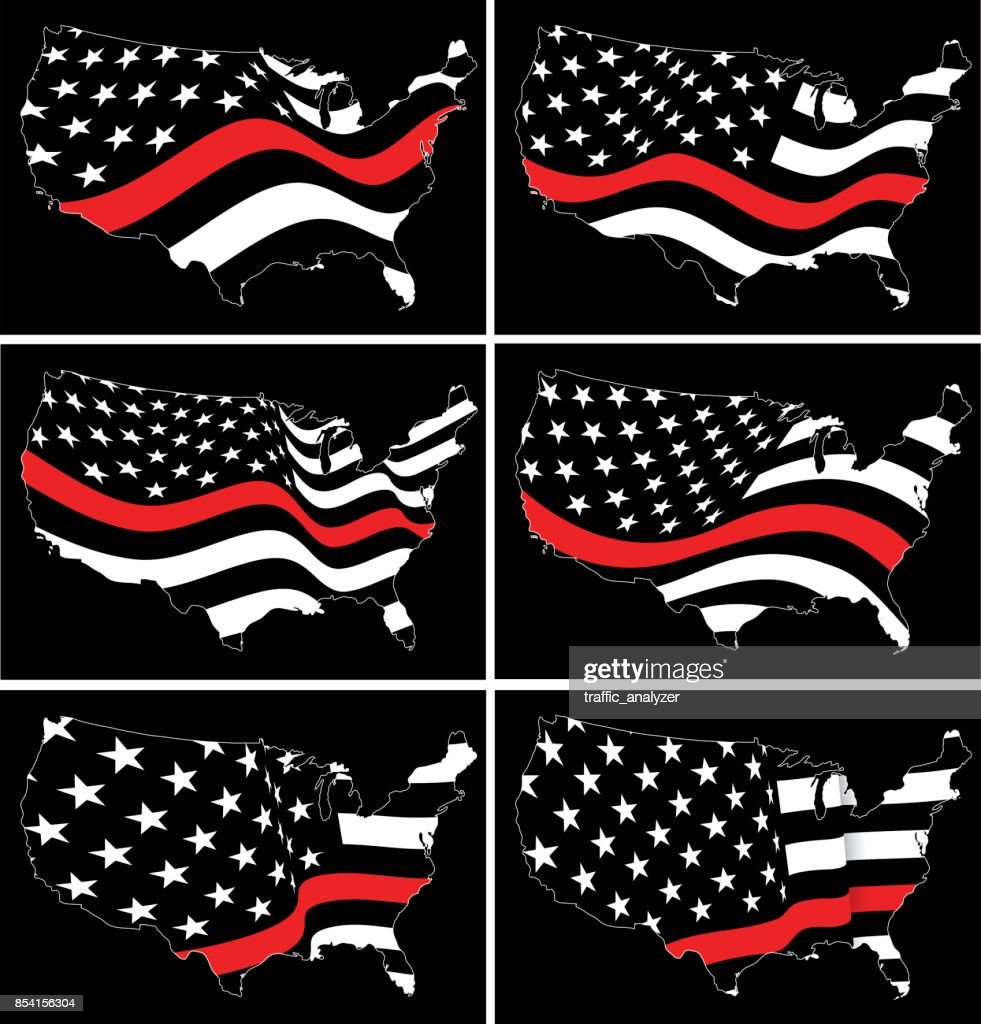 Thin Red Line flag over USA maps
