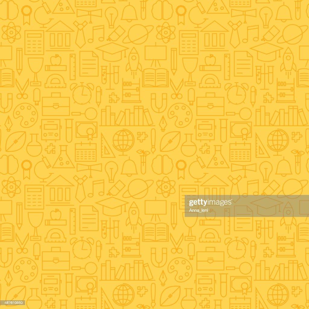 Thin School Line Education Graduation Seamless Yellow Pattern