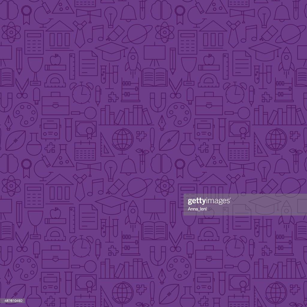 Thin School Line Education Knowledge Purple Seamless Pattern
