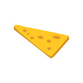 Thin Slice Of Yellow Cheese With Holes Primitive Cartoon Icon, Part Of Pizza Cafe Series Of Clipart Illustrations