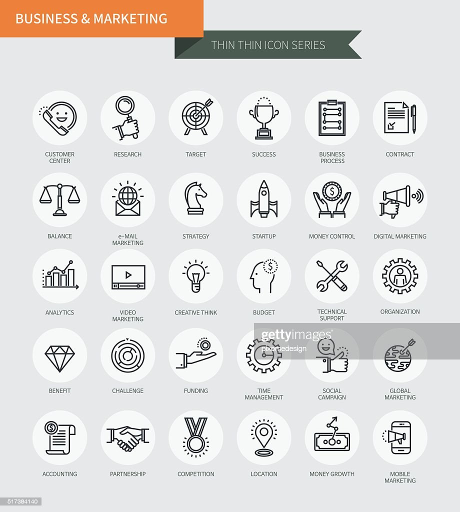 Thin thin line icons set of business & marketing