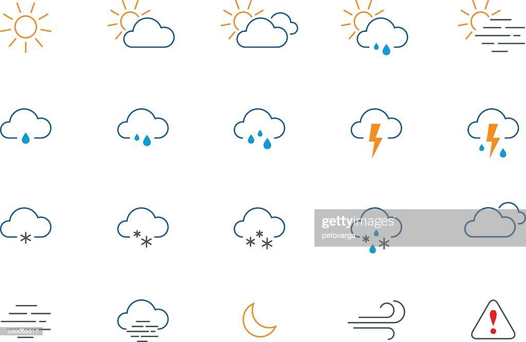 Thin weather colour icon set