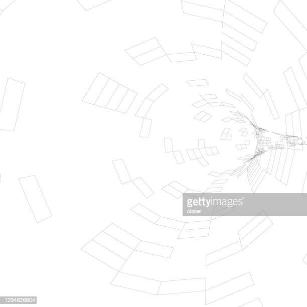 thin wireframe tunnel, made of squares, turning right - wire frame model stock illustrations