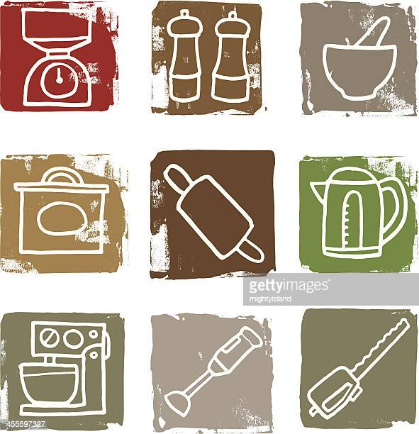 things in the kitchen icon block set - mortar and pestle stock illustrations, clip art, cartoons, & icons