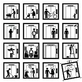 Things that People do inside Elevator Lift Cliparts Illustration