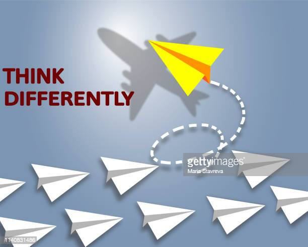 Think Different. Airplane changing direction.