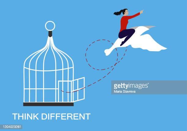 illustrazioni stock, clip art, cartoni animati e icone di tendenza di think different and freedom concept. - libertà