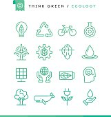 Think green! Set of ecology icons, thin line style