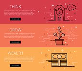 Think. Grow. Wealth. Flat line vector web banners set