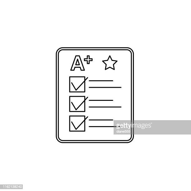 think line illustration back to school icon - report card stock illustrations
