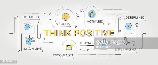 think positive banner and icons - attitude stock illustrations, clip art, cartoons, & icons