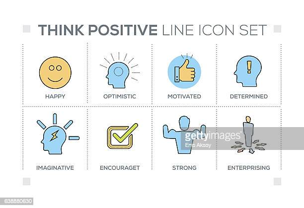 think positive keywords with line icons - attitude stock illustrations, clip art, cartoons, & icons