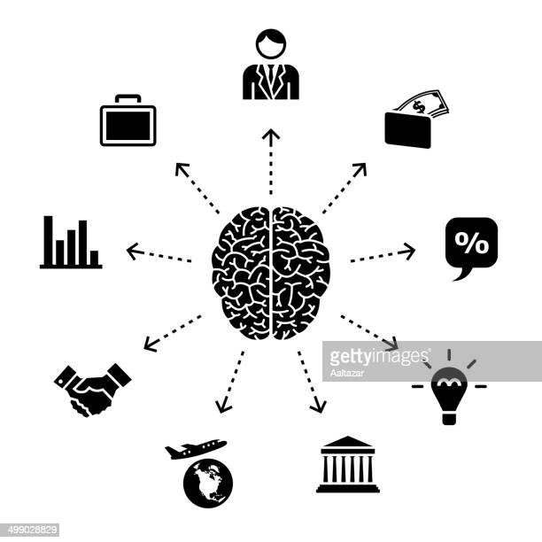 thinking about business - cerebral hemisphere stock illustrations, clip art, cartoons, & icons