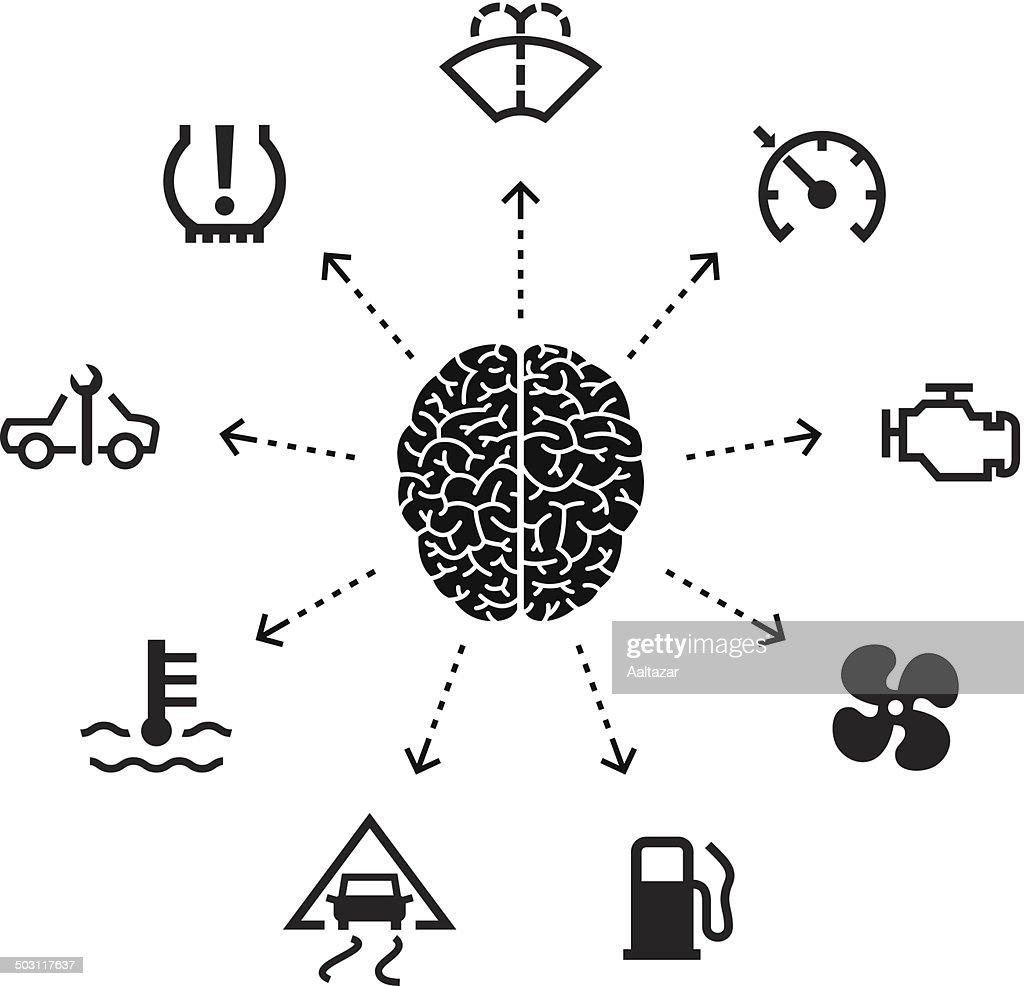 Thinking About Car Indicators : stock illustration