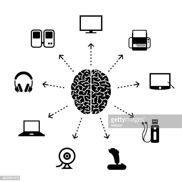 thinking about electronics - cerebral hemisphere stock illustrations, clip art, cartoons, & icons
