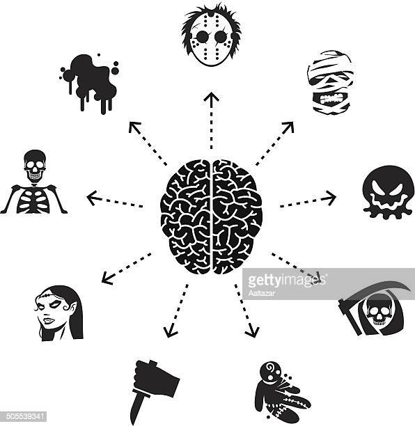 thinking about horror movies - cerebral hemisphere stock illustrations, clip art, cartoons, & icons