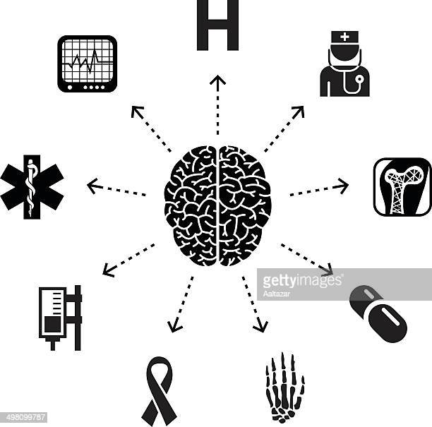 thinking about medicine - cerebral hemisphere stock illustrations, clip art, cartoons, & icons
