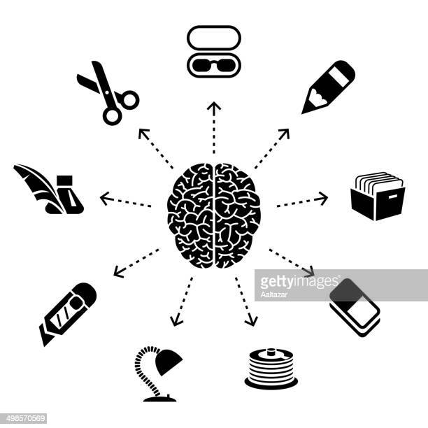 thinking about office - cerebral hemisphere stock illustrations, clip art, cartoons, & icons