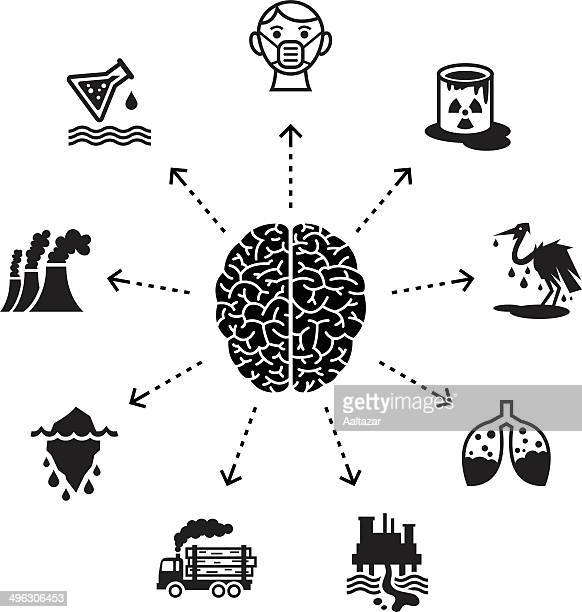 thinking about pollution & environmental damage - water pollution stock illustrations, clip art, cartoons, & icons