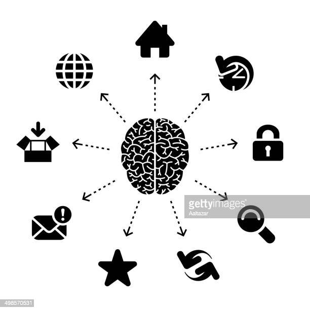 thinking about the web - cerebral hemisphere stock illustrations, clip art, cartoons, & icons