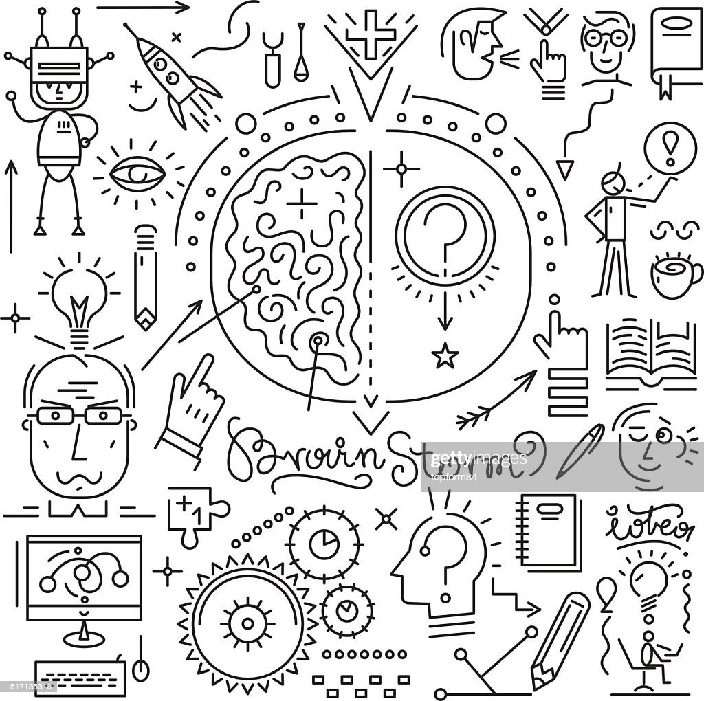 Thinking , brainstorm , science icons