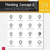 Thinking concept 2 elements vector icons set on white bg.