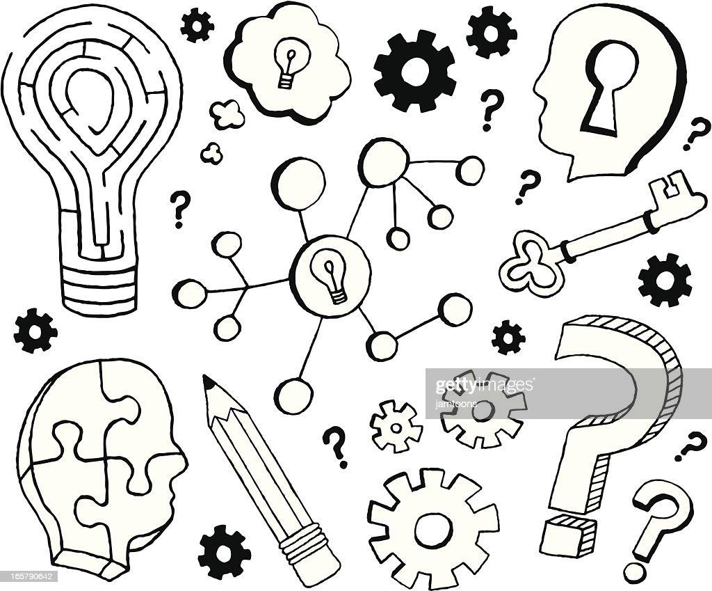 Thinking Doodles : stock illustration