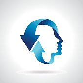 thinking head with blue arrow
