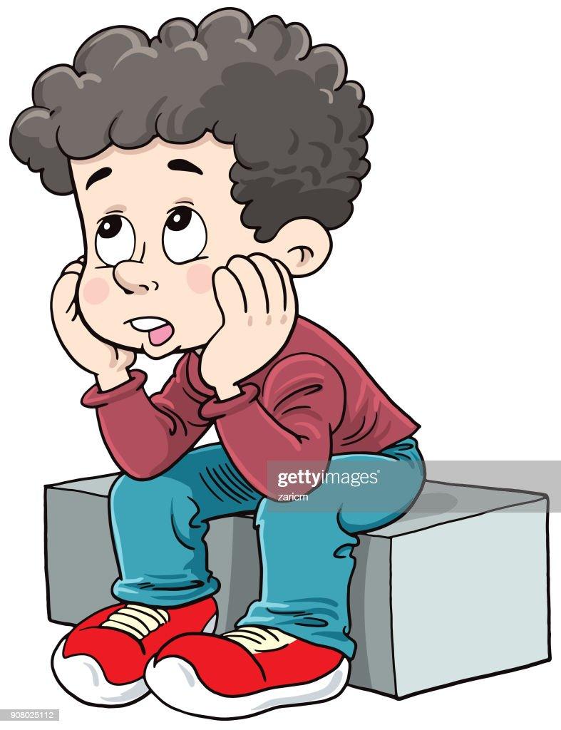Thinking Kid : stock illustration