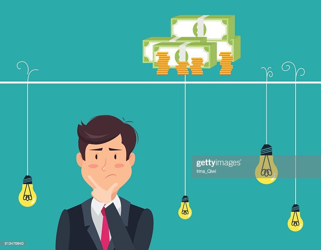 Thinking man with idea bulbs