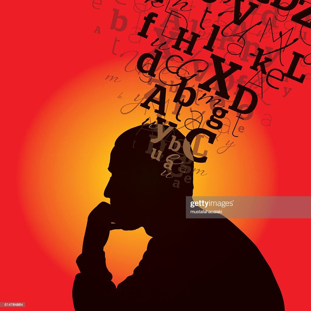 Thinking man with words on his head