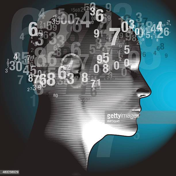 thinking numbers - human hair stock illustrations, clip art, cartoons, & icons